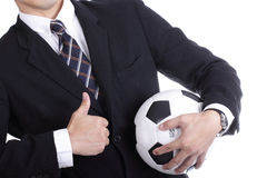 Football manager hold ball Stock Images