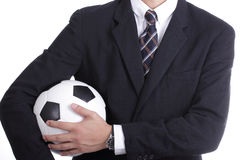Football manager hold ball Royalty Free Stock Images