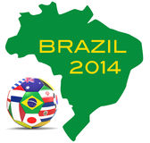 Football and map of Brazil Royalty Free Stock Photos