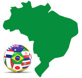 Football and map of Brazil vector illustration