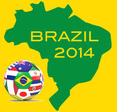 Football and map of Brazil Stock Image