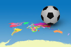 Football on map Royalty Free Stock Images