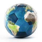 Football mapped with Earth texture. 3D illustration.  Stock Photography