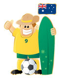 Football mascot Australia. Football (soccer) mascot Australia. Vector illustration in 3 layer (flag, mascot without outline and gold outline) World cup 2010 Royalty Free Stock Photography