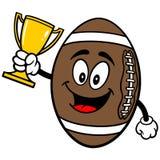 Football Mascot with Trophy. A vector illustration of a Football Cartoon Royalty Free Stock Photos