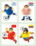 Football mascots ISR CRO CHI ECU. Football mascots in national kit and flag: Israel, Croatia, China & Ecuador. Vector funny illustration. Each in separated layer Royalty Free Stock Images
