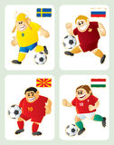 Football mascots SWE RUS MAC HUN Royalty Free Stock Photos