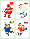 Football mascots TUR FIN BIH CZE. Football mascots in national kit and flag: Turkey, Finland, Bosnia & Czech Republic. Vector funny illustration. Each in Royalty Free Stock Photo