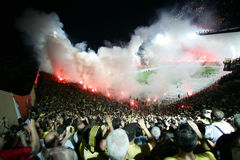 Football match between Aris and Boca Juniors Royalty Free Stock Photo
