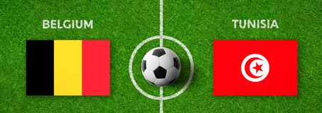Football match Belgium vs. Tunisia Stock Photos