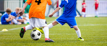 Football Match for Children. Kids Playing Soccer Tournament Game Royalty Free Stock Images