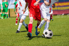 Football match for children. Training and football soccer tourna. Young boys playing football soccer game. Running players in red and white uniforms Royalty Free Stock Images