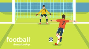 Football Match Goalkeeper Protecting Gates Player Kick Ball Royalty Free Stock Photography