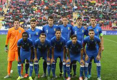 Football match between Italy and  EIRE Under-21. VICENZA, ITALY - October 13, 2015: UEFA Under-21 Championship Qualifying Round, football match between Italy and Stock Photo