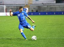 Football match between Italy and  EIRE Under-21. VICENZA, ITALY - October 13, 2015: UEFA Under-21 Championship Qualifying Round, football match between Italy and Royalty Free Stock Image