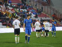 Football match between Italy and  EIRE Under-21. VICENZA, ITALY - October 13, 2015: UEFA Under-21 Championship Qualifying Round, football match between Italy and Stock Image
