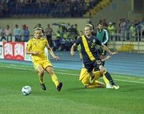 football match national sweden teams ukraine 免版税库存照片