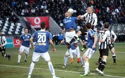 Football match between Paok and Atromitos (1-2) Royalty Free Stock Images