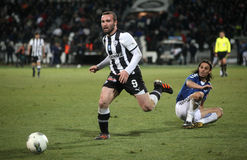 Football match between Paok and Atromitos (1-2) Royalty Free Stock Image