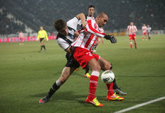 Football match between Paok and Olympiakos Royalty Free Stock Image