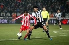 Football match between Paok and Olympiakos Stock Photos