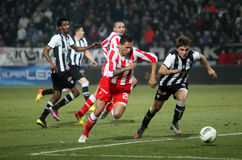Football match between Paok and Olympiakos Stock Image