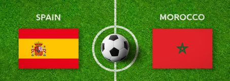 Football match Spain vs. Morocco Royalty Free Stock Image