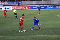 The football match between Thailand and Finland in the 42nd King's cup. Stock Photography