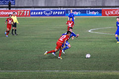 The football match between Thailand and Finland in the 42nd King's cup. Royalty Free Stock Photography