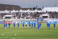 The football match between Thailand and Finland in the 42nd King's cup. Royalty Free Stock Photos