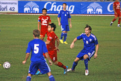 The football match between Thailand and Finland in the 42nd King's cup. Royalty Free Stock Photo