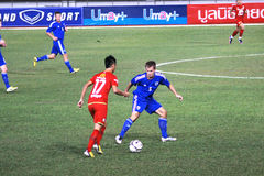 The football match between Thailand and Finland in the 42nd King's cup. Stock Images