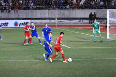 The football match between Thailand and Finland in the 42nd King's cup. Royalty Free Stock Images
