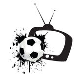 Football match time. The ball is flying out of the TV royalty free illustration