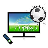 Football match on tv sports channel. Vector illustration royalty free illustration