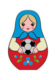 Football matryoshka. Russian nesting doll holding a soccer ball in her hands. Vector illustration for a sporty design, symbolizing the 2018 World Cup in Russia Royalty Free Stock Photography