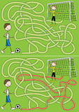 Football maze. For kids with a solution royalty free illustration