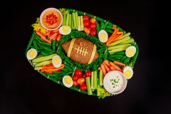 Free Football Meatloaf With Vegetable, Egg And Sauce For Super Bowl Party Stock Photography - 167937192