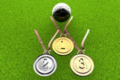 Football and medals Royalty Free Stock Photography