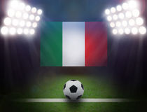 Football with Mexico Flag in stadium. Royalty Free Stock Photos