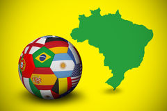 Football in multi national colours Stock Photo
