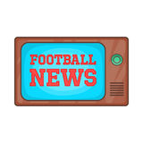 Football news on retro TV icon, cartoon style Royalty Free Stock Photo