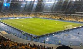Football NSC Olimpiyskiy. Kiev stadion, light, football match Ukraine with Cameroon Royalty Free Stock Image