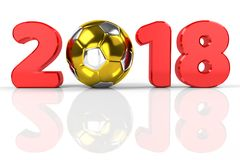 Football 2018. Number 2018 with golden soccer ball as zero, 3d rendering Stock Photography