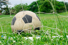Football. Old leather football on green field royalty free stock image