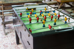 Football old wooden table. Over 50 years of age Stock Photo