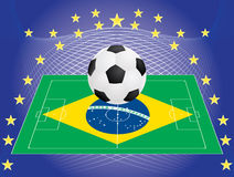 Football over pitch with Brazilian flag. Vector illustration Royalty Free Stock Photography