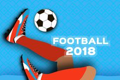 Football 2018 in paper cut style. Origami world championship on blue. Football cup. Soccer boots. Sport. Vecor Royalty Free Stock Image