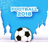 Football 2018 in paper cut style. Origami world championship on blue. Football cup Sport. Russian architecture. Vector Royalty Free Stock Photo