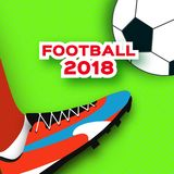 Football 2018 in paper cut style. Origami world championship on green. Football cup. Soccer boots. Sport. Vector Royalty Free Stock Images